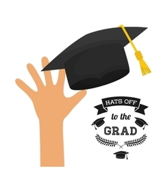 Graduation cap and hand icon university design vector