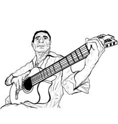 guitarist ink sketch vector image vector image