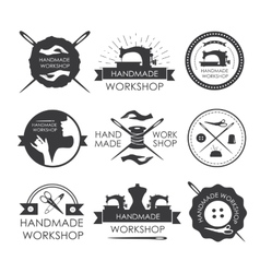 Handmade workshop logo vintage set vector image