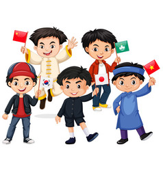 Happy boys holding flag from different countries vector