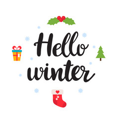 hello winter beautiful poster with vector image vector image