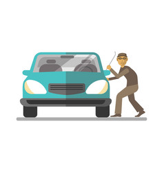 Man thief breaking car door isolated on white vector