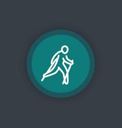nordic walking icon linear pictogram vector image
