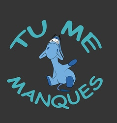 Sad donkey waving hand with French text vector image