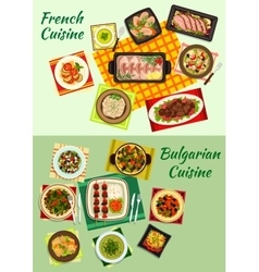 French and bulgarian cuisine dinner dishes icon vector