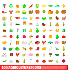 100 agriculture icons set cartoon style vector