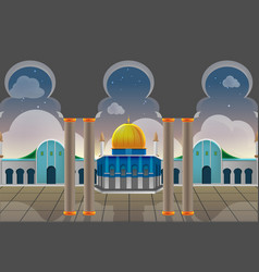 Sunset view muslim building background vector