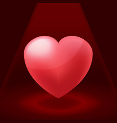 Valentine red heart spotlight vector