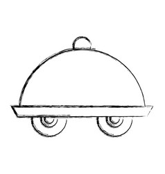 Tray server with wheels isolated icon vector