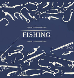 Fishing poster with hook fishing rod vector