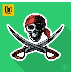 Sketch style hand drawn pirate skull flat icon vector