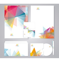 Corporate identity template with color geometric vector