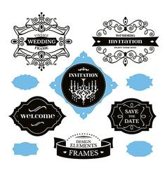 Set of wedding frames and labels vector image