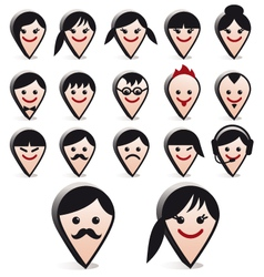 3D avatar heads faces icon set vector image vector image