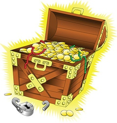 Cartoon treasure chest vector