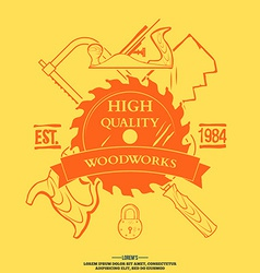 Vintage carpentry tools labels and design elements vector