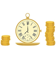 Pocket watch and coins vector image