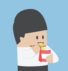 Businessman eating instant noodle cups vector