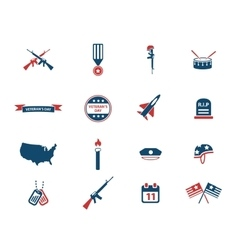Veterans day simply icons vector