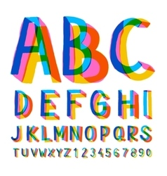 Creative colorful alphabet and numbers vector