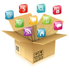 Cardboard box with set of icons vector