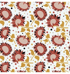 Beautiful colorful sunflowers seamless pattern vector