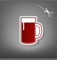Beer glass sign red icon with for vector