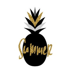 Black and Gold Pineapple Design vector image