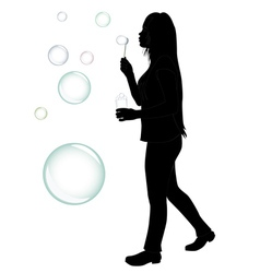 Blowing bubbles silhouette vector