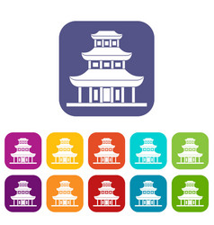Buddhist temple icons set vector