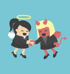 Business woman shaking hand business woman demons vector