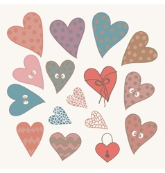 Cartoon design hearts set vector image vector image
