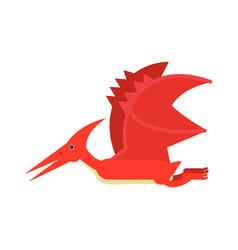 cute cartoon red pterosaurs dinosaur prehistoric vector image