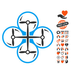 Drone screws icon with dating bonus vector