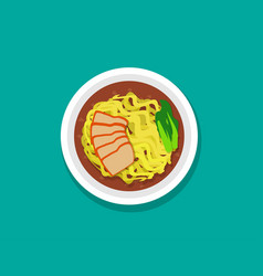 Egg noodle soup with roast pork and soup top view vector