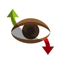 Eye with arrow indicating movement icon image vector
