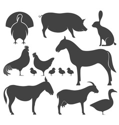 Farm animal silhouette vector