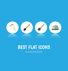 Flat icon farm set of spade shovel cutter and vector