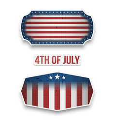 Fourth of july national flag labels set vector