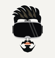 Handsome young hipster male wearing vr glasses vector