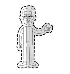 Happy man waving hand cartoon icon image vector