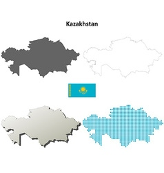 Kazakhstan outline map set vector