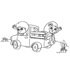 Little boy and friend driving a toy car coloring vector