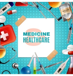 Medical accessories products colorful background vector