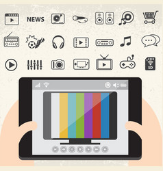 Mobile smart tv and entertainment icons set vector