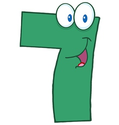 Number Seven Cartoon Mascot Character vector image