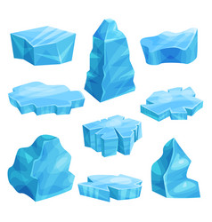 pieces of ice set cold frozen block icy cliff vector image