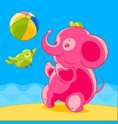 Pink elephant and bird in cartoon style playing vector