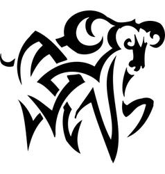 Ram in tribal style - vector