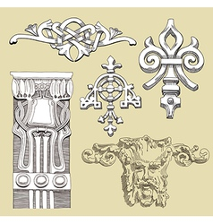 reliefs of the 19th century Kiev buildings vector image